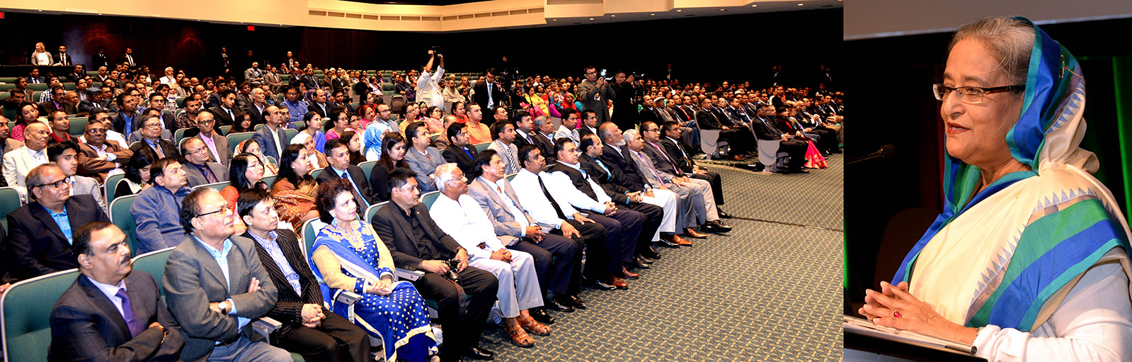 Honourable Prime Minister Sheikh Hasina addresses leaders of Bangladesh Awami League in Montreal during her visit to Canada on 15-18 September 2016.