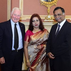 Madam Nishat Rahman and H.E. Mizanur Rahman, High Commissioner for Bangladesh in Canada, are seen with the Rt. Hon. Dr. David Johnston, Governor General of Canada, after Presentation of Credentials at the Rideau Hall in Ottawa on 6th of September 201