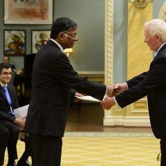 The Right Hon'ble Dr. David Johnston, Governor General of Canada receives the Letter of Credential from H.E. Mizanur Rahman, the High Commissioner for Bangladesh at the Rideau Hall (official residence of the Governor General of Canada) in Ottawa on 6