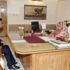 H.E. Mizanur Rahman made a courtesy call on the Hon'ble Prime Minister of Bangladesh, H.E. Sheikh Hasina at the Prime Minister's Office in Dhaka before his departure for Canada as High Commissioner for Bangladesh.