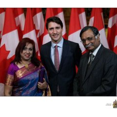 H.E. Mizanur Rahman and Mrs. Nishat Rahman are seen with Honorable Prime Minister of Canada, H.E. Justin Trudeau at a reception hosted by Global Affairs Canada in Ottawa